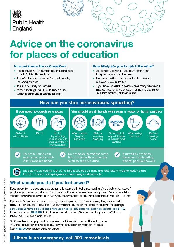 Coronavirus poster for schools
